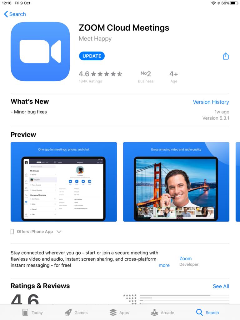 Zoom app on app store